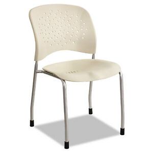 Safco R ve Series Guest Chair W Straight Legs Latte Plastic Silver Steel 2