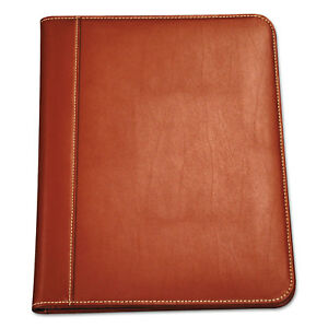 Samsill Contrast Stitch Leather Padfolio 8 1 2 X 11 Leather Tan 71716