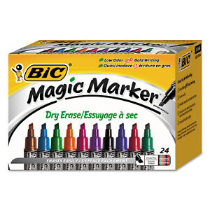 Bic Low Odor And Bold Writing Dry Erase Marker Chisel Tip Assorted 24 pack