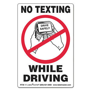 Labelmaster Self adhesive Label 6 1 2 X 4 1 2 No Texting While Driving 500 roll