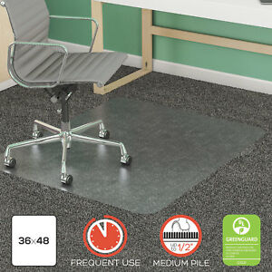 Deflecto Supermat Frequent Use Chair Mat Rectangle 36 X 48 Medium Pile