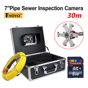 8gb 30m 98ft 7 Lcd Drain Sewer Pipe Inspection Camera Video Snake Endoscope