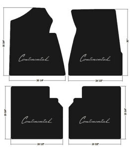 New 1964 1969 Lincoln Continental Black Carpet Floor Mat Set Embroidered Logo A4