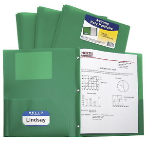 C line Two pocket Heavyweight Poly Portfolio Folder With Prongs Green Pack Of