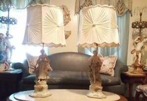 Vion Baury Pair Antique French Marked Bisque Porcelain Figurine Statue Lamps
