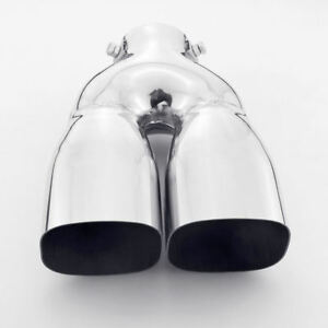 2 25 Inlet Dual 3 15 x2 75 Outlet Car Exhaust Tip Stainless Steel 240mm Long