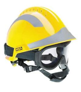Msa F2 X trem Helmet Yellow C w Responder Goggles And Sticker Pack silver