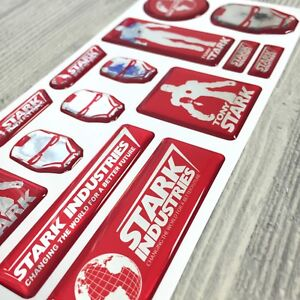 Iron Man Stark Industries Tony Red Chrome 3d Domed Emblem Decal Stickers