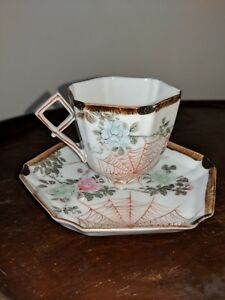 Antique Bone China Cup And Saucer Hand Painted