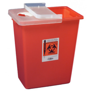 2 Pack Covidien 8933 Sharpsafety Sharps Container Hinged Lid 12 Gallon Red