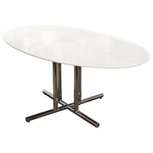 Mid Century Modern Oval Vitrolite Style Chrome Base Dining Table Saporiti Era