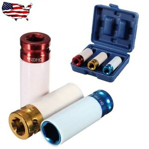 3pcs 1 2 Thin Wall Deep Impact Socket Set Plastic Sleeve Lug Nut 17mm 19mm 21mm
