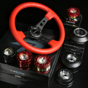 Nrg 120h Hub gold Chrome Gen2 0 Quick Release 3 deep Dish Red Steering Wheel