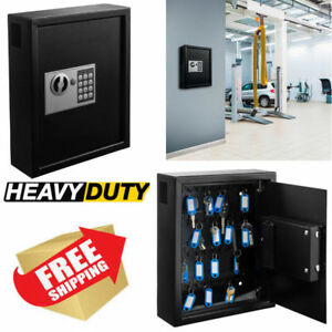 Large Key Storage Cabinet Metal Safe Box Electronic Lock Case Wall Mount Holder