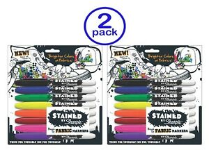 Stained By Sharpie Fabric Markers 8 pkg assorted Colors 2pk