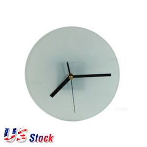 Us Stock 20 Pcs Sublimation Blank Glass Photo Frame With Glossy Round Clock