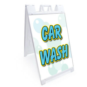 A frame Car Wash Sign With Graphics On Each Side 24 X 36 Heavy Duty
