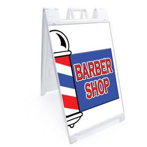 A frame Barber Shop Sign With Graphics On Each Side 24 X 36 Heavy Duty
