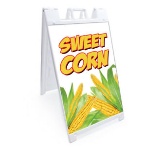 A frame Sweet Corn Sign With Graphics On Each Side 24 X 36 Print Size