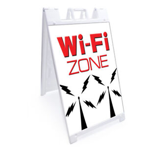 A frame Wi fi Zone Sign With Graphics On Each Side 24 X 36 Heavy Duty
