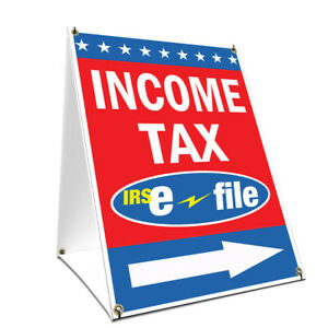 A frame Sidewalk Income Tax E file With Arrow Sign Double Sided 18 X 24