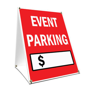 A frame Sidewalk Event Parking With Price Sign Double Sided Graphics 18 X 24
