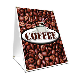 A frame Sidewalk Coffee Sign With Graphics On Each Side 18 X 24 Print Size