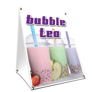 A frame Sidewalk Bubble Tea Sign With Graphics On Each Side 18 X 24