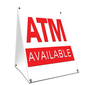 A frame Sidewalk Atm Sign With Graphics On Each Side 18 X 24 Print Size