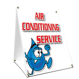 A frame Sidewalk Air Conditioning Service Sign Double Sided Graphics 18 X 24