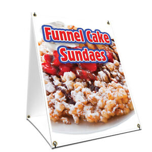 A frame Sidewalk Funnel Cake Sundaes Sign With Graphics On Each Side 18 X 24