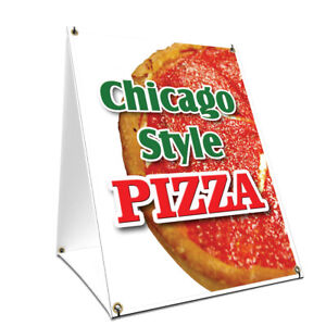 A frame Sidewalk Chicago Style Pizza Sign With Graphics On Each Side 18 X 24