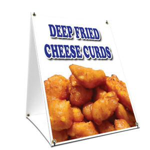 A frame Sidewalk Deep Fried Cheese Curds Sign Double Sided Graphics 18 X 24