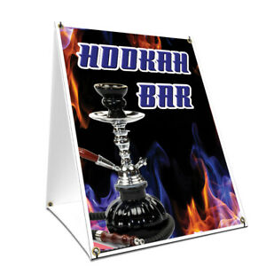 A frame Sidewalk Hookah Bar Sign With Graphics On Each Side 18 X 24