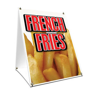 A frame Sidewalk French Fries Sign With Graphics On Each Side 24 X 36