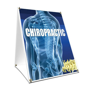 A frame Sidewalk Chiropractic Sign With Graphics On Each Side 24 X 36