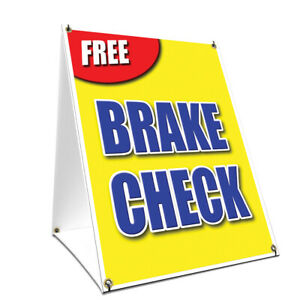 A frame Sidewalk Free Brake Check Sign With Graphics On Each Side 24 X 36