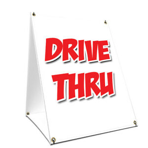 A frame Sidewalk Drive thru Sign With Graphics On Each Side 24 X 36