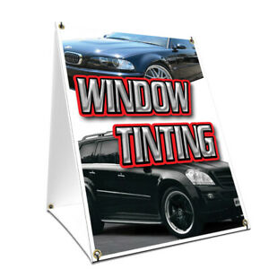 A frame Sidewalk Window Tinting Sign With Graphics On Each Side 24 X 36