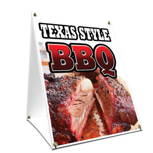 A frame Sidewalk Texas Style Bbq Sign With Graphics On Each Side 24 X 36