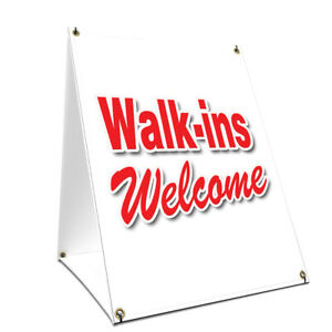 A frame Sidewalk Walk ins Welcome Sign With Graphics On Each Side 18 X 24
