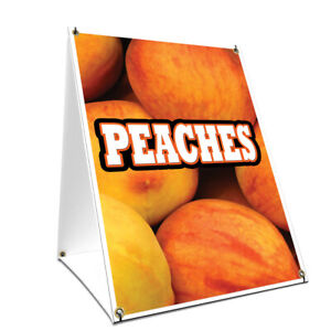 A frame Sidewalk Coroplast Peaches Sign With Graphics On Each Side 18 X 24 P