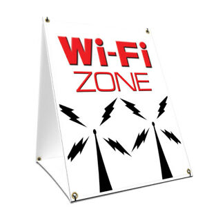 A frame Sidewalk Wi fi Zone Sign With Graphics On Each Side 18 X 24