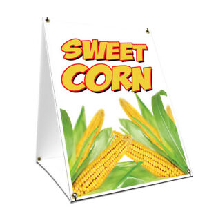 A frame Sidewalk Sweet Corn Sign With Graphics On Each Side 18 X 24 Print