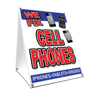 A frame Sidewalk We Fix Cell Phones Sign With Graphics On Each Side 18 X 24