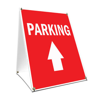 A frame Sidewalk Parking With Up Arrow Sign Double Sided Graphics 18 X 24