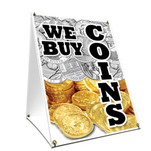 A frame Sidewalk We Buy Coins Vertical Sign Double Sided Graphics 18 X 24