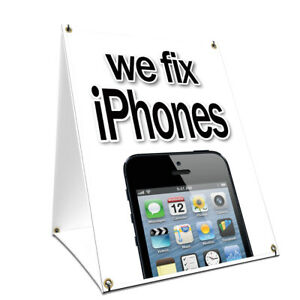 A frame Sidewalk We Fix Iphones Sign With Graphics On Each Side 18 X 24