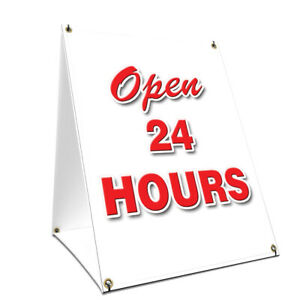 A frame Sidewalk Open 24 Hours Sign With Graphics On Each Side 24 X 36