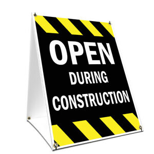 A frame Sidewalk Open During Construction Sign Double Sided Graphics 24 X 36